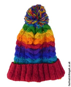 Wool-Cable-Knit-Festival-Bobble-Hat-Rainbow