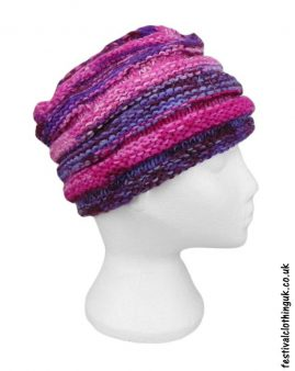 Wool-Festival-Beanie-Hat-Pink-Purple