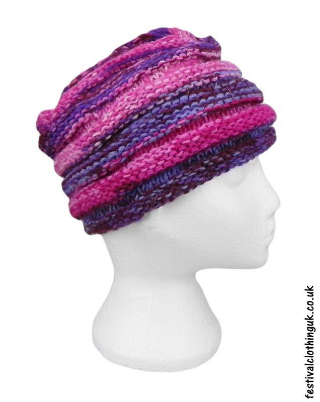 Wool-Festival-Beanie-Hat-Pink-Purple