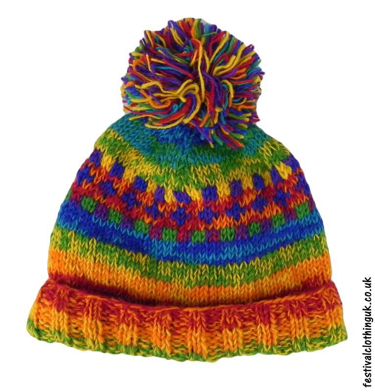 Wool-Patterned-Festival-Bobble-Hat-Rainbow