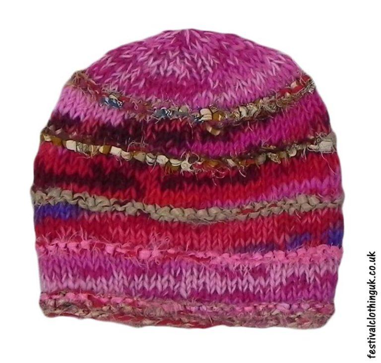 Wool-&-Silk-Festival-Beanie-Hat-Pink