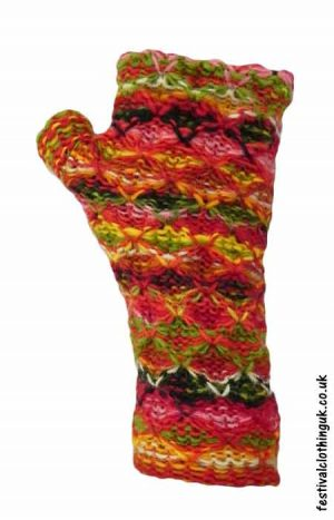 Wool-Wrist-Warmers-Criss-Cross-Mixed-Colour