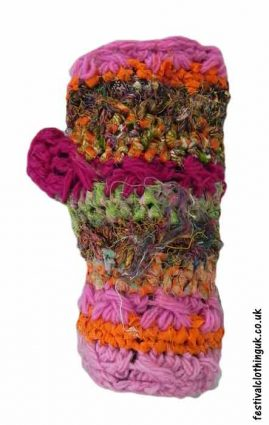 Wool-and-Recycled-Silk-Wrist-Warmers-Pink