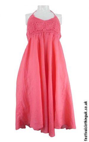 Cotton-Festival-Dress-with-Crochet-Detail-Pink