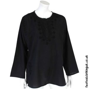 Embroidery Festival Kurta Tunic Black