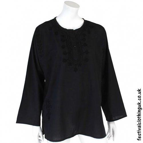Embroidery Festival Kurta Tunic Black