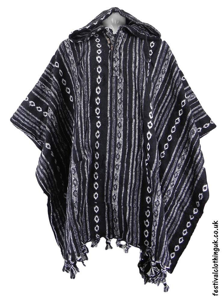 Hooded-Cotton-Festival-Poncho-Black-White-1