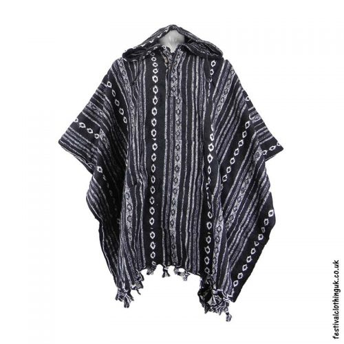 Hooded-Cotton-Festival-Poncho-Black-White