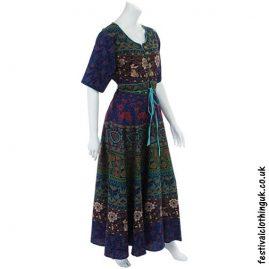 Long Cotton Festival Throw Dress Blue
