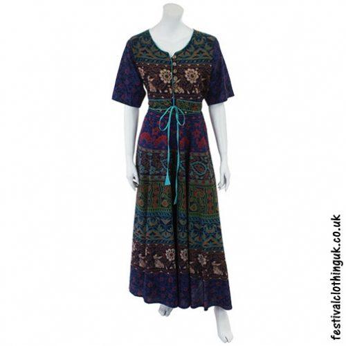 Long Cotton Festival Throw Dress Blue Front