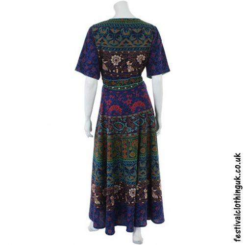 Long Cotton Festival Throw Dress Blue back