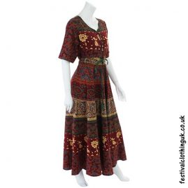 Long Cotton Festival Throw Dress Red