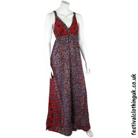 Long Floaty Festival Maxi Dress Red