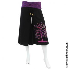 Long Tree of Life Festival Shorts Purple Pink