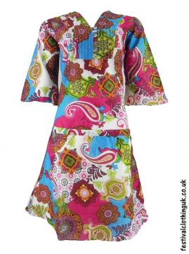 Multicoloured-Retro-Festival-Dress-Blue-Pink