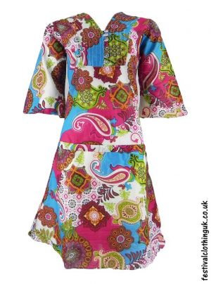 Multicoloured-Retro-Festival-Dress-Blue-Pink