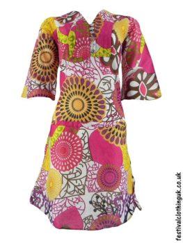 Multicoloured-Retro-Festival-Dress-Pink