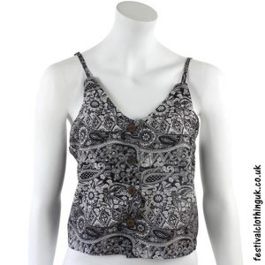 Paisley Festival Crop Top Black