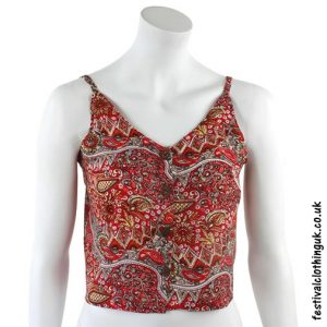Paisley Festival Crop Top Red
