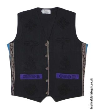 Printed-Pattern-Cotton-Festival-Waistcoat-Black