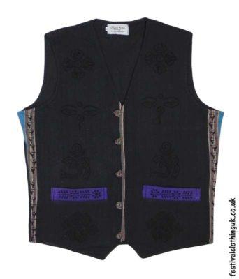 Printed-Pattern-Cotton-Festival-Waistcoat-Black