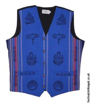 Printed-Pattern-Cotton-Festival-Waistcoat-Blue
