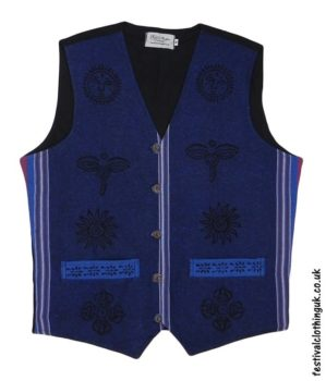 Printed-Pattern-Cotton-Festival-Waistcoat-Blue