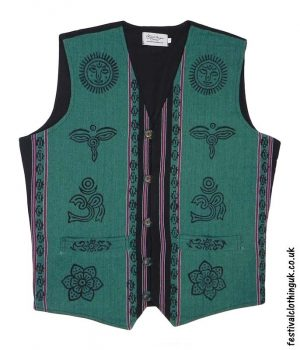 Printed-Pattern-Cotton-Festival-Waistcoat-Green