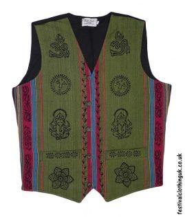 Printed-Pattern-Cotton-Festival-Waistcoat-Green