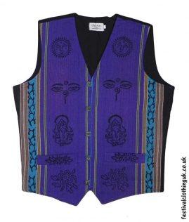 Printed-Pattern-Cotton-Festival-Waistcoat-Purple