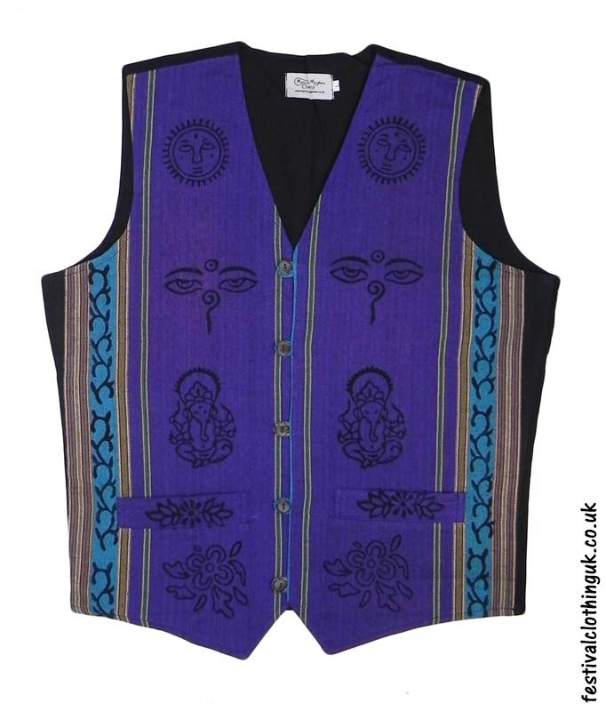 Printed-Pattern-Cotton-Festival-Waistcoat-Purple