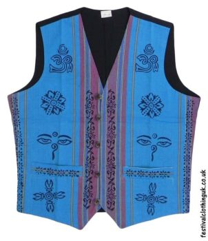 Printed-Pattern-Cotton-Festival-Waistcoat-Turquoise