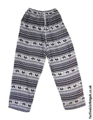 Printed-Rayon-Festival-Trousers-Elephant-Black