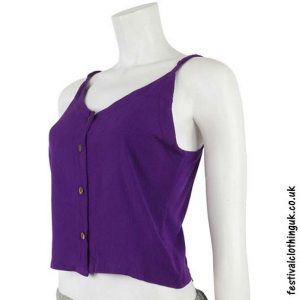 Rayon-Button-Festival-Crop-Top-Purple