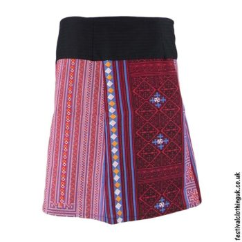 Short-Cotton-Festival-Wrap-Skirt-Pink-Red