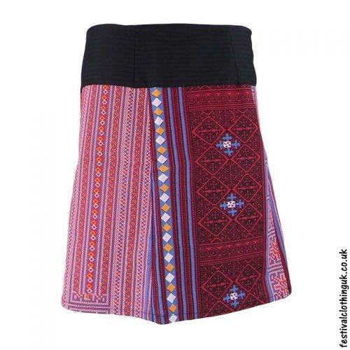 Short-Cotton-Festival-Wrap-Skirt-Pink-Red