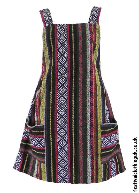 Short-Cotton-Weave-Festival-Dress-Black