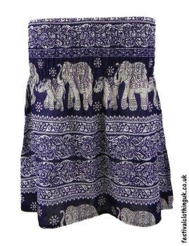 Short-Elephant-Festival-Mini-Skirt-Dark-Blue