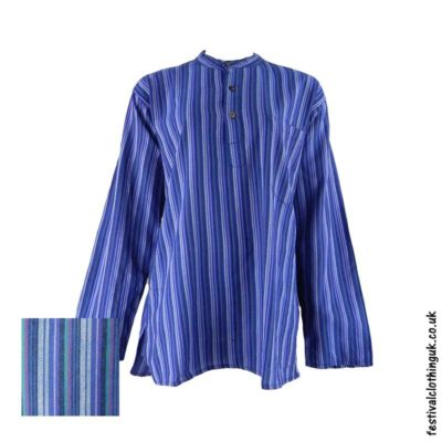 Striped-Collarless-Festival-Grandad-Shirt-Blue