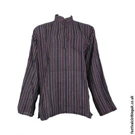 Striped-Collarless-Festival-Grandad-Shirt-Brown