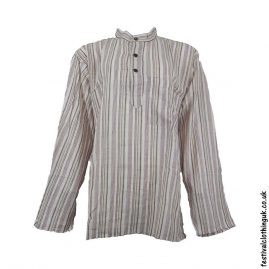 Striped-Collarless-Festival-Grandad-Shirt-Cream