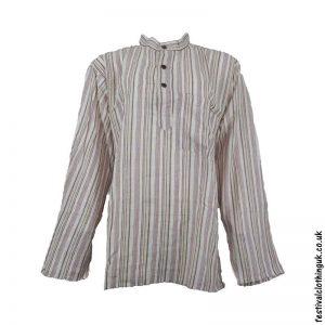 Striped-Collarless-Festival-Grandad-Shirt-Cream