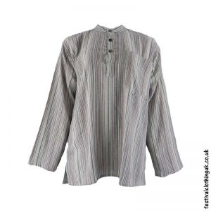 Striped-Collarless-Festival-Grandad-Shirt-Cream-Brown