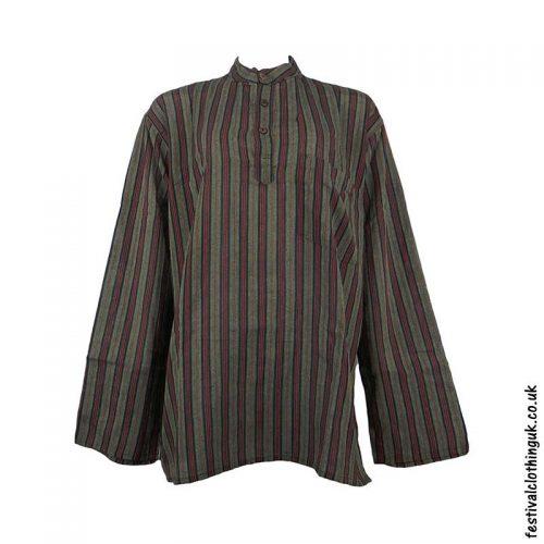 Striped-Collarless-Festival-Grandad-Shirt-Green