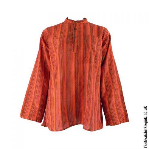 Striped-Collarless-Festival-Grandad-Shirt-Orange