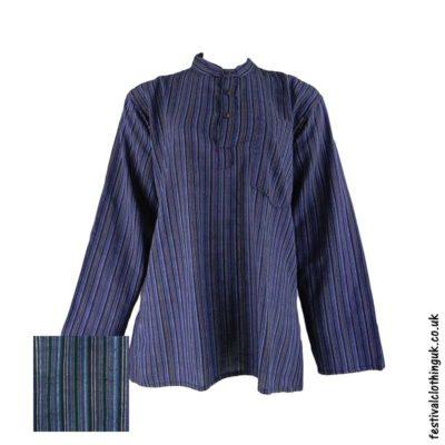 Striped-Collarless-Festival-Grandad-Shirt-Purple