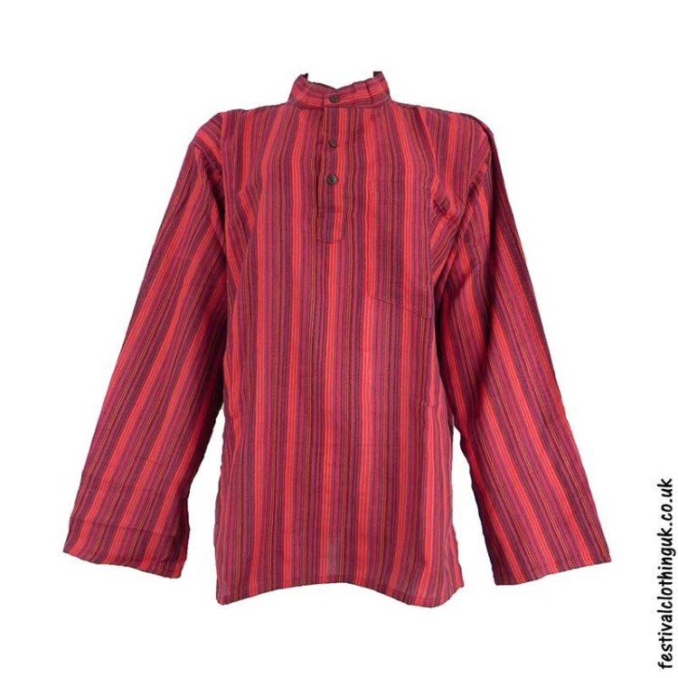 Striped-Collarless-Festival-Grandad-Shirt-Red