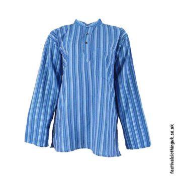 Striped-Collarless-Festival-Grandad-Shirt-Turquoise