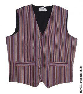 Striped-Cotton-Festival-Waistcoat-Burgundy