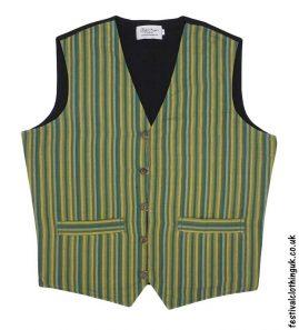 Striped-Cotton-Festival-Waistcoat-Green